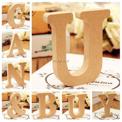 (Part 1 - A to M) 26 Wooden Freestanding Letters Love Alphabet Wedding Party Home Shop Decorations 15mm  - Per Piece
